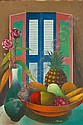 JACQUES - ENGUERRAND GOURGUE: Oil on canvas - Stylised still life study of fruit & flowers ion a table, signed, 32in X 24in, together with original, Jacques Gourgue, Click for value