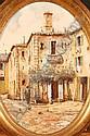GUIDO BORELLI: 20th century oval Oil on Canvas, Italian village scene, signed with artist's label verso, 15.5in. x 11.5in., Guido Borelli, Click for value