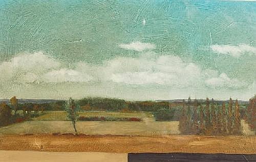 ROBERT MARCHESSAULT(Canadian artist) b. 1953: Oil on Board, Extensive landscape titled