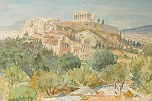 DORIS MAY BLACKER (B. 1905) Watercolour, extensive Greek landscape view towards the Acropolis, inscribed verso. 14in x 21in.