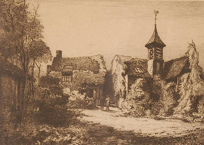 ARMAND COUSSENS (1881-1935) Etching, Bridge over