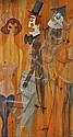 Alex Portner Oil on wood panel, clowns and dancing, Alex  Portner, Click for value