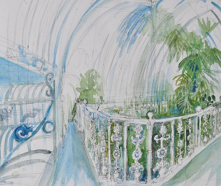 Nina Carroll (1932-1990) Watercolour, Kew Gardens,
