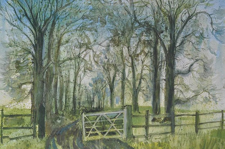 Nina Carroll (1932-1990) Watercolour, gate at the
