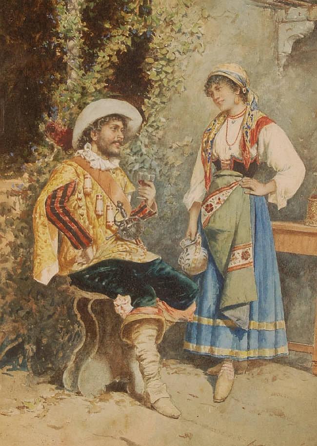 ADELCHI DE GROSSI (1852-1892) Watercolour, Italian