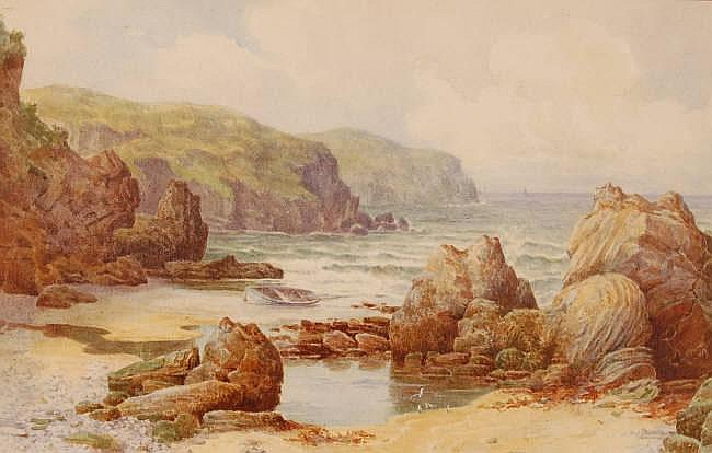 MAUD HOLLYER Watercolour, Coastal view (probably