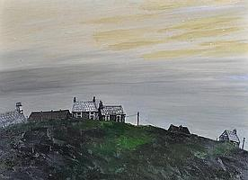 John Virtue (Born 1947) Oil on board, view of