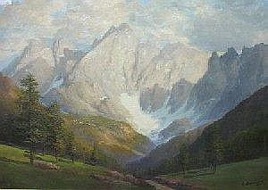 [ Watercolours ] G. BONACINA: Oil on canvas - Mountainous valley landscape view towards a glacier, 19in X 28in