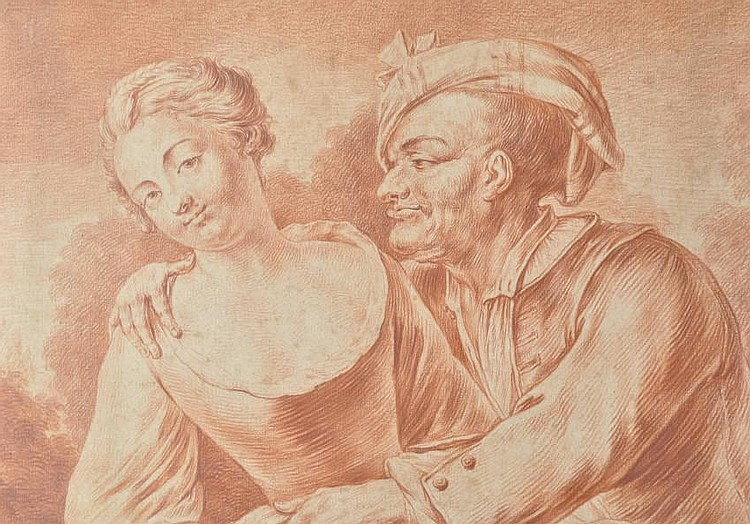 Jean Spoede (1680-1757) Sanguine chalk drawing