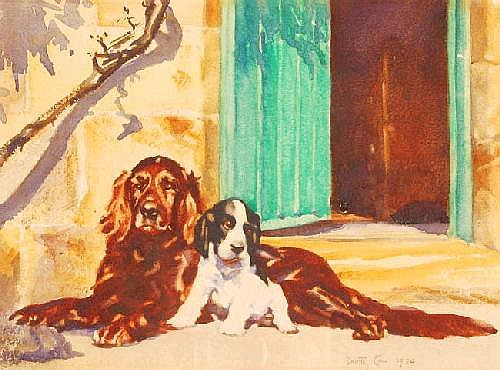 DOROTHY CARR, watercolour, 2 dogs by an open