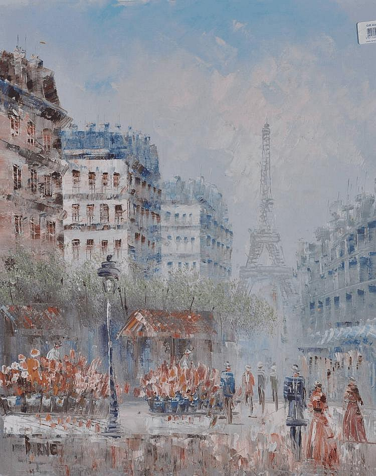 Caroline Burnett Oil on canvas, Parisian street