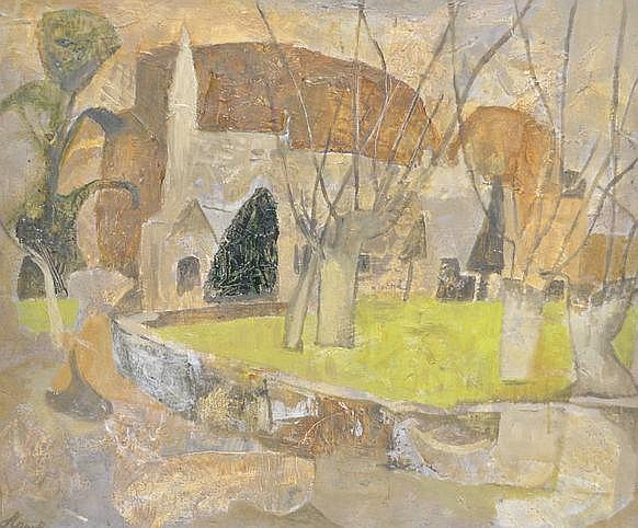 Marjorie Hawke (1894-1979) Cotswold Church, signed