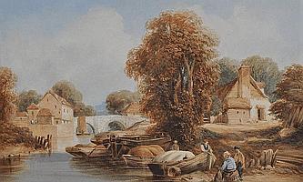 Samuel Austin (1796-1834) Watercolour, Barges on a