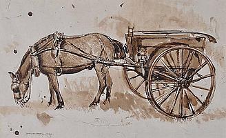 James Hockey (1904-1990) Sepia watercolour & ink,