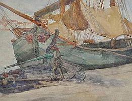 Hilda May Gordon (1874-1972) watercolour, boats on