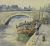 Olive Dutton Green watercolour, boy fishing in a, O. Dutton-Green, Click for value