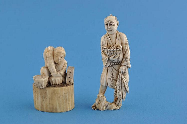 A Chinese carved ivory figure with a basket,