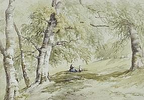 "James Fahey (1804-1885) Watercolour, ""On the Arun"""