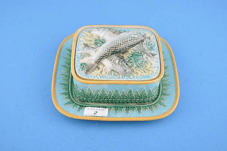 A Victorian George Jones Majolica sardine dish &