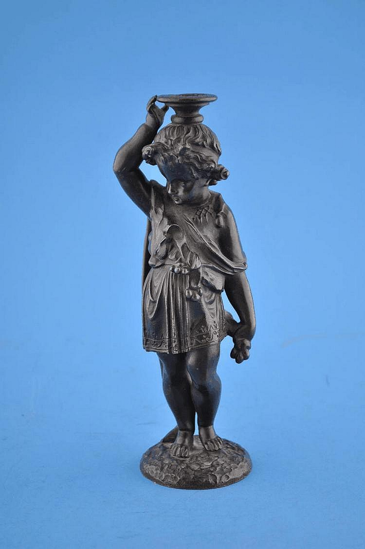 Mid Victorian bronze cherub figure, height 8.5''
