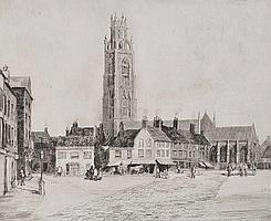 Herbert Reeve (Born 1870) etching, Boston Stump,