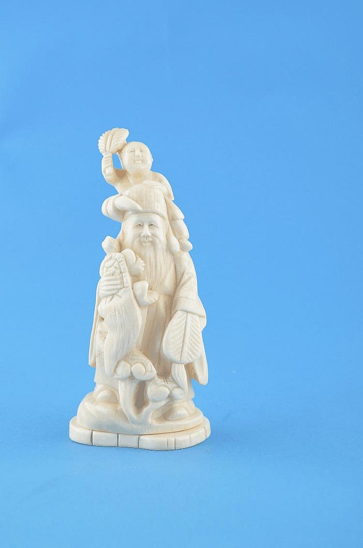 19th century Chinese carved ivory study of a man