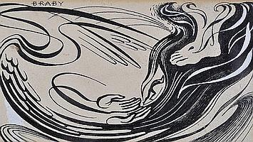 Dorothea Braby (1909 - 1987) 2 Pen & ink drawings,