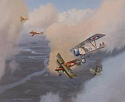 BRIAN WITHAMS Oil on board, First War aerial dog