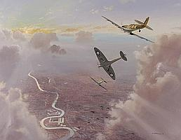 BRIAN WITHAMS Oil on canvas, Spitfires pursuing