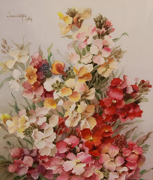 JACK CARTER, watercolour, wallflowers, signed and