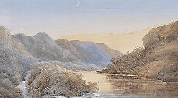 Arthur Mills watercolour, a village lane, signed,