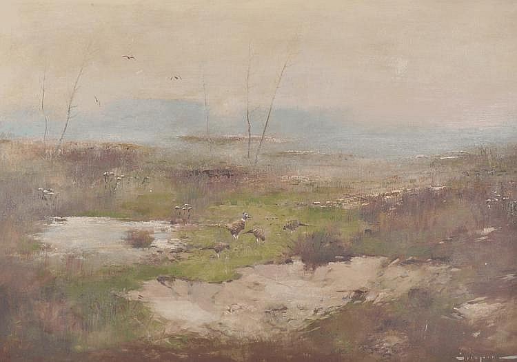 Erich Stapel oil on board, pheasant in marshland,