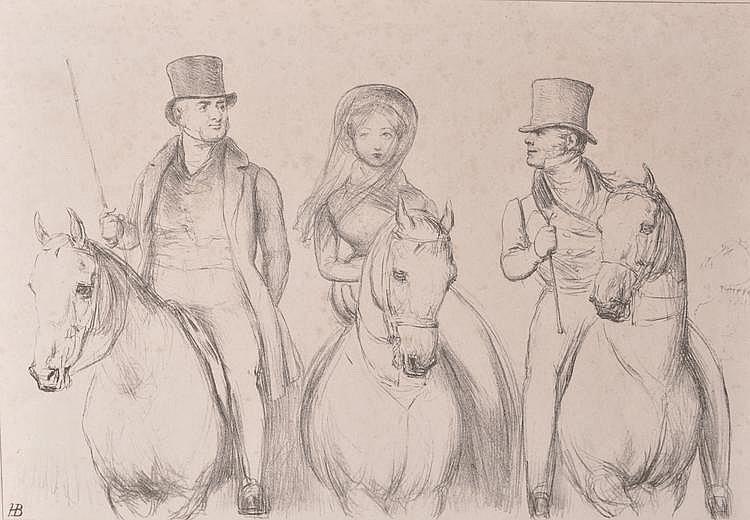 H E Bennett 2 caricature lithographs, Susannah and