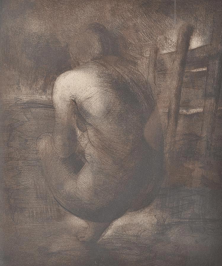 Crawford Adamson drypoint etching, female nude,