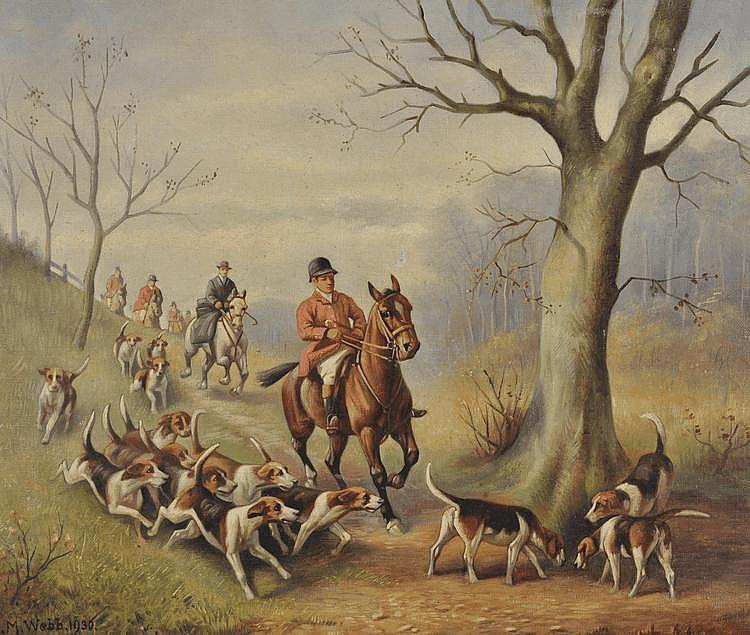 L M Webb oil on canvas, hunting scene 1930,
