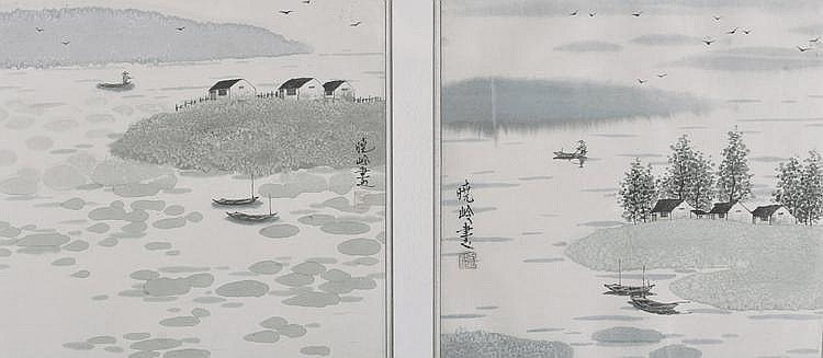 Chinese School 20th century pair of watercolours,