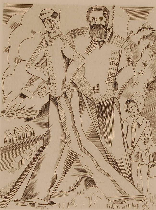 JORIS MINNE (1897-1988), etching, stylised figure