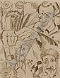 JORIS MINNE (1897-1988), etching, Card players,, Joris Minne, Click for value