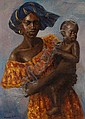 MICHAEL ROSS, oil on board, African mother and, Michael Ross, Click for value