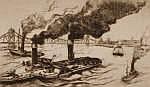 ARTUR ZAHN (Born 1886) Etching, German river scene