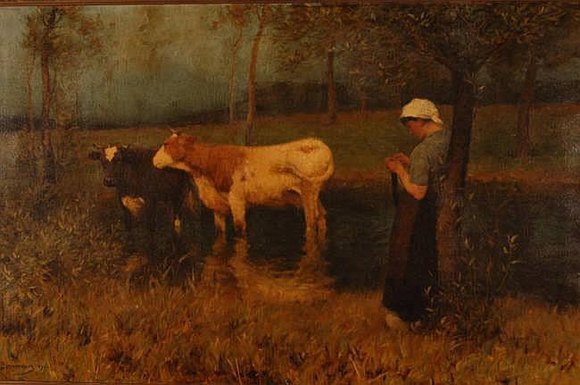 JULIUS BERGMANN (German artist Born 1861) Oil on