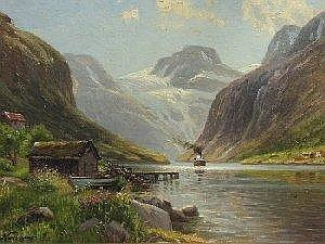 EMMA NORMANN: Oil on board - Extensive fjord mountain landscape with a steam ship on the river, signed, 9.5in X 13in
