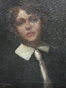 COUNT CASIMIR DUNIN MARKIEWICZ: Oil on canvas - Head & shoulders portrait of a young boy, signed & inscribed Paris 1902, 19in X 15in Estimate -