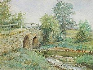 EDITH MARY LAWRENCE: Watercolour - Stone bridge over a stream titled