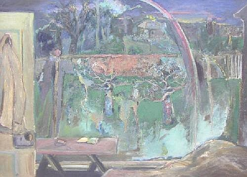 HAROLD MOCKFORD: Oil on board -Rainbow in the Garden