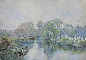 F.G SKEATS: Watercolour-Rural river scene with fishermen & figures on the river banks, signed, 10.5in. X 14in.