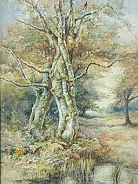 F.G SKEATS: Watercolour - Pond in a woodland clearing, Southampton, signed, 21in X 14in