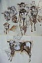 PAUL GAISFORD: Two unframed watercolours, sketches of Sussex cattle & Sussex calf, signed, 22in x 30in, Paul Gaisford, Click for value