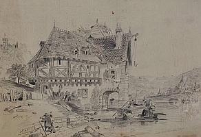 "Clara Mathewman Pencil ""At Capellon on the Rhine"""