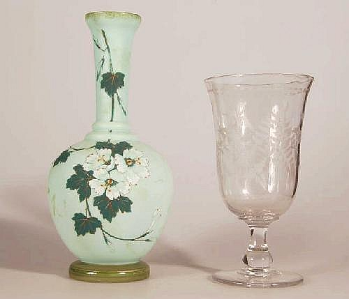 Victorian Glass Celery Vase On Circular Foot With Engraved F